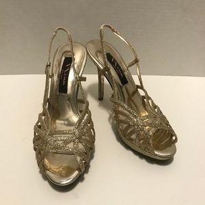 🆕 Nina Gold Glitter Formal Heel Sandals 6